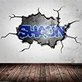 wandtattoo gebrochene wand personalisiert graffiti name 3d s 70cm x 40cm baumarkt. Black Bedroom Furniture Sets. Home Design Ideas