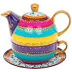 Arty Hand Painted Tea Pot with Bold S...