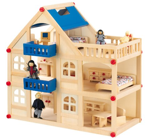 Emilo Großes Puppenhaus 3 Etagen Möbel Figuren 22 Teile Puppen Holz Haus
