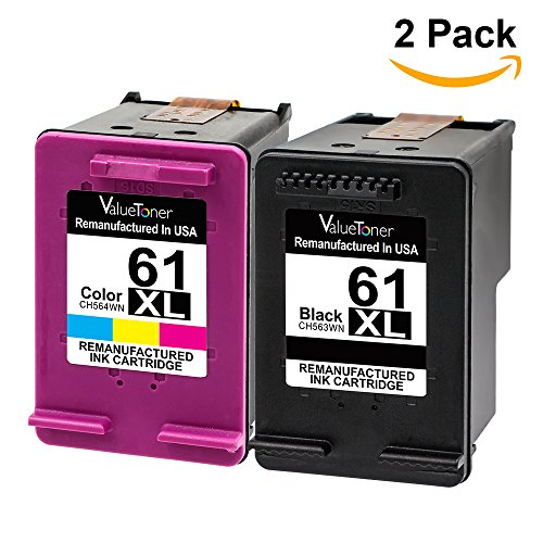 Valuetoner Remanufactured Ink Cartridge Replacement For Hewlett Packard HP 61XL 61 XL High Yield CR258BN CH563WN CH564WN (1 Black, 1 Tri-Color) 2 Pack - With Ink Level (Replacement Cartridge For Hp 61xl compare prices)