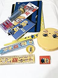 Sweet 14 Fun Educational Despicable Me Minion Bundle- Memo Pad, Sharpener, Eraser ,Pencil, Rulers, Pez Dispenser with Candy, Composition Book, Pencil Case, Snack Box and Pen