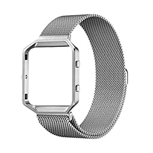 SuperSoldierFitbit Blaze Accessories.Milanese Loop Stainless Steel Bracelet Strap and Stainless Steel Metal Watch Frame Holder Shell For Fitbit Blaze Smart Watch (Silver Frame+Loop)