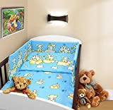 COT BUMPER 100 COTTON PADDED FOR BABY FIT COT 120x60 140x70 STRAIGHT 180cm to fit cot 120x60cm Puppy Blue