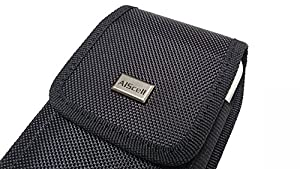 { AIScell } PLUS SIZE XXXL LARGE Pouch Case Holster for iPHONE 6S PLUS / 6 PLUS [ 5.5''] ~ Heavy Duty Black Nylon Canvas Velcro Flap Vertical / Horizontal Case with Steel Belt Clip Holster + Carabiner D Ring Hook + Cleaning Cloth {Fits iPhone with OtterBo