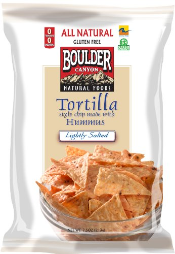 Boulder Canyon Tortilla Chips with Hummus - Lightly Salted, 7.5-Ounce Bags (Pack of 12)
