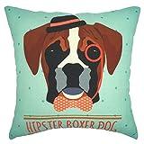 YOUR SMILE Boxer Dog Cotton Linen Square Decorative Throw Pillow Case Cushion Cover 18x18 Inch(44CM*44CM) Teal