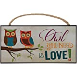 1 X Owl You Need Is Love! Two Owls on Branch Decorative Hanging Sign - Made in USA