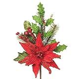 RAZ Imports - Red Poinsettia and Holly Spray 20