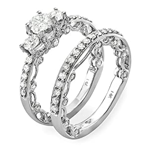 1.65 Carat (ctw) 14k White Gold Round Diamond Ladies Bridal Ring Engagement Set Matching Wedding Band (Size 7)
