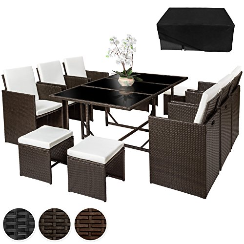 TecTake-Poly-Rattan-641-Sitzgruppe-6-Sthle-4-Hocker-1-Tisch-Schutzhlle-Edelstahlschrauben-diverse-Farben-Antik-Braun-Nr-402099