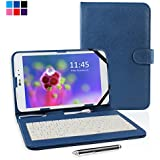"Kamor® 9.7"" 9.7 inch Universal PU Leather Stand Tablet Case with Keyboard + Micro USB Keyboard with Touch Screen Stylus Pen for 9.7 Inch Android Tablet PC Samsung Galaxy Tab A 9.7 Inch / Dragon Touch E97 / Hp TouchPad / Lenovo Idea Tablet S2109 (Mystic Blue)"