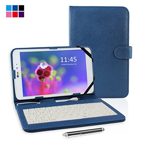 """Kamor® 10.1"""" Pu Leather Universal Stand Tablet Case With Keyboard + Micro Usb Keyboard With Touch Screen Stylus Pen For 10.1 Inch Android Tablet Pc + Micro To Mini & Micro To Samsung 30Pin Adapter (Mystic Blue)"""