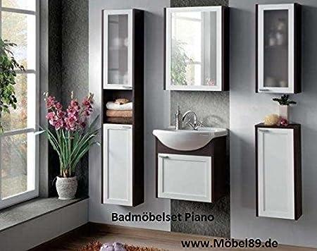 Bathroom furniture set Bath furniture Piano with Washbasin White and Wenge