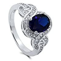 BERRICLE Sterling Silver Simulated Blue Sapphire Cubic Zirconia CZ Solitaire Woven Womens Ring from BERRICLE