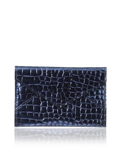 AEON Women's Mini Envelope, Blue Metallic Croc