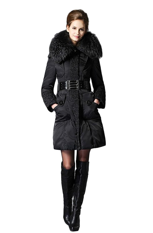 Queenshiny Damen Lange Daunenjacke Mantel mit Waschbär Pelz Kragen mit Kapuze Winter günstig kaufen