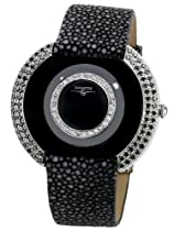 "Swisstek SK47805L Limited Edition Swiss Black And Natural Pink Diamonds Watch With Blue Sapphire Set Crown, Genuine Stingray ""Galuchat"" Strap And Sapphire Crystal"
