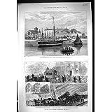 La Impresión Antigua de 1881 Boicoteó el Tren Ferroviario de Blackburn del Desplome del Corcho del Protector de...