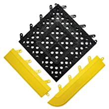 "Wearwell PVC 542 FIT Functional Interlocking Anti-Fatigue Gritted Tile, Open, for Wet Areas, 12"" Width x 12"" Length x 5/8"" Thickness, Black (Pack of 20)"