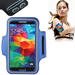 Crazy4Gadget PU Sport Armband Case with Earphone Hole & Key Pocket for Samsung Galaxy S6 &S6 Edge / S5 / S4 / S3(Dark Blue)