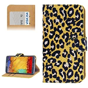 Yellow Leopard Pattern Shimmering Powder Leather Case with Credit Card Slot & Holder for Samsung Galaxy Note 3 N9000 (Yellow)
