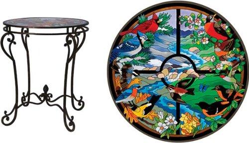 Cheap Bird Themed Glass Top End Table (AY-TA505)
