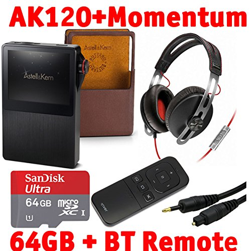 Astell & Kern Ak120 Mastering Quality Sound Dual Dac Hifi Audio Player With Sennheiser Momentum Headphones, Bluetooth Remote Control, 64Gb Microsd Card, And Emusic Optical Audio Connection Kit