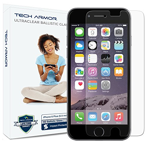 iPhone 6 Plus (5.5 inch ONLY) HD Clear Ballistic Glass Screen Protector, Tech Armor Apple iPhone 6 Plus Premium HD Clear Ballistic Glass Screen Protector - Protect Your Screen from Scratches and Drops - Maximize Your Resale Value - 99.99% Clarity and Touchscreen Accuracy