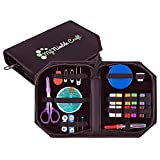 Professional Sewing Kit - Premium Sewing Supplies - Retractable Tape Measure + Covers for Travel Scissors & Seam Ripper - Excellent Sewing Starter Kit For Kids, Students, Beginners & Adults