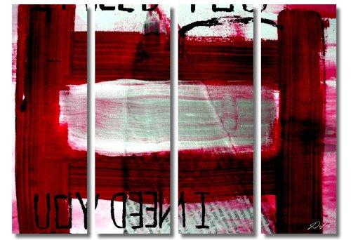 WOW - Statt 78,- Euro jetzt nur noch 39,- Euro !!! Deko Bild auf Leinwand xxl large (I Need You_Red_4x30x100cm) HD Bilder fertig gerahmt mit Keilrahmen groß. Ausführung schöner Kunstdruck auf echter Leinwand als Wandbild mit Rahmen. Preiswerter als Ölbild Gemälde Poster Plakat mit Bilderrahmen. Picture Typ (abstrakt Kunst Malerei modern Striche geometrische Formen Schrift weiß rot). 100% Made in Germany .