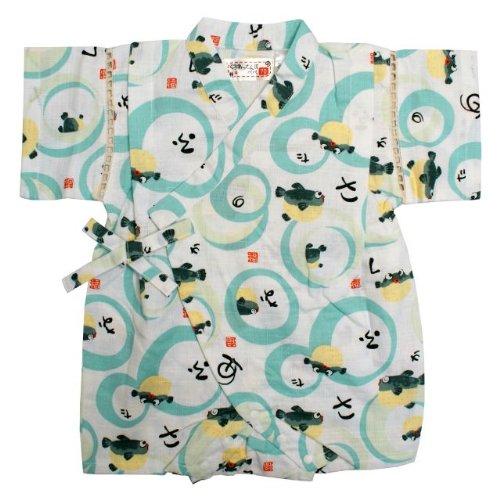 甚平 ロンパース ベビー 男の子 綿100% 日本製生地 ふぐ 和柄 じんべい ロンパース 甚平 ホワイト 80cm