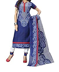Look Smart Women's Polycoton Unstitched Dress Material (MARRY BLUE_Multicolor_Free Size)