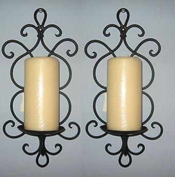 Amazon.com: Decorative Black Wrought Iron Candle Wall Sconce Set: Home Improvement