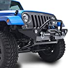 E-Autogrilles 51-0353 07-15 Jeep Wrangler JK Heavy Duty Rock Crawler Front Bumper With LED Lights with Receiver