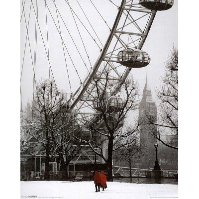 Snow on the South Bank London Art Print Poster - 16x20