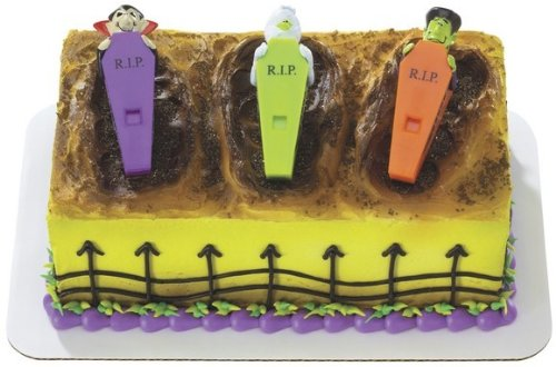 Halloween DRACULA FRANKENSTEIN MOMMY Cake TOPPER Party Birthday Kit Loot whistle