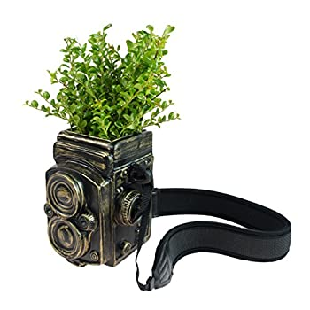 Vintage Camera Style Ceramic Decorative Vase / Planter w/ Strap, Brushed Bronze-Tone, by MyGift Home