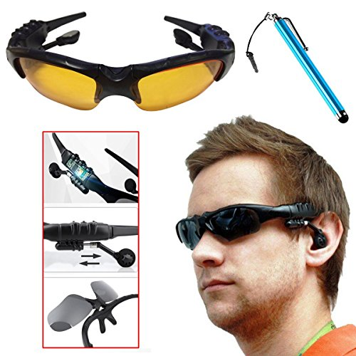 Esscoe Fashion gift for you or your lover!!HBS-360 Bluetooth wireless Sun glass headset EarphoneDVR Mini Camera Camcorder Video Recorder Support Micro SD Card Stereo music MP3 Bluetooth sunglasses headphone FM MC SD card /Audio video/Camera Supported for cell phone PC tablet ect. with 1 Stylus Pen Gift (yellow)
