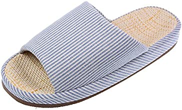 Bronze Times TM Unisex Vertical Stripes Indoor Cotton Flax House Slippers