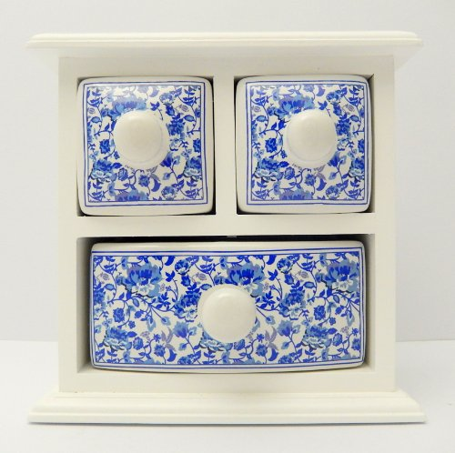 Blue White Porcelain 3-Drawer Handpainted Apothecary Box Chest Jewelry Storage