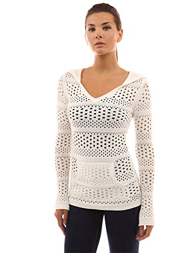 PattyBoutik Women's Hoodie Open Stitch Knit Top (Off-White S)