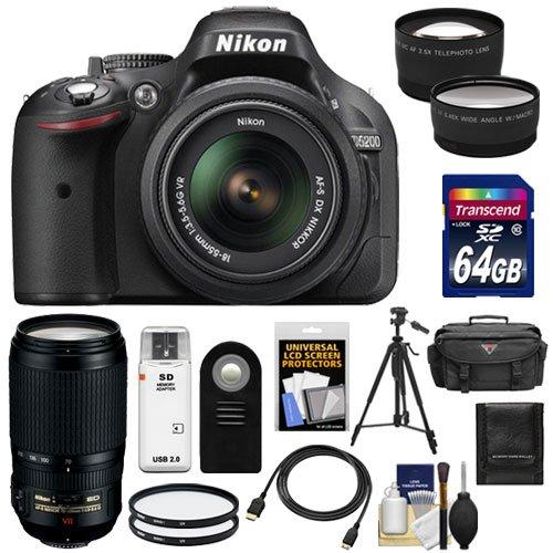 Nikon D5200 Digital Slr Camera & 18-55Mm G Vr Dx Af-S Zoom Lens (Black) With 70-300Mm Vr Lens + 64Gb Card + Battery + Case + Filters + Tele/Wide Lenses + Remote + Hdmi Cable + Tripod + Accessory Kit