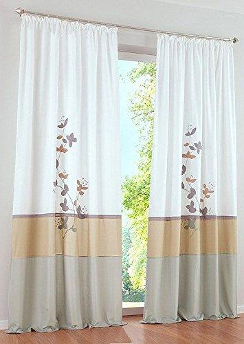 Uphome 1-Pair Fresh Embroidered Plant Pattern Grommet Window Curtain Panels - Semi-blackout Living Room Sheer Curtains,55 x 96 Inch,Sand (Sliding Door Semi Sheer Curtains compare prices)