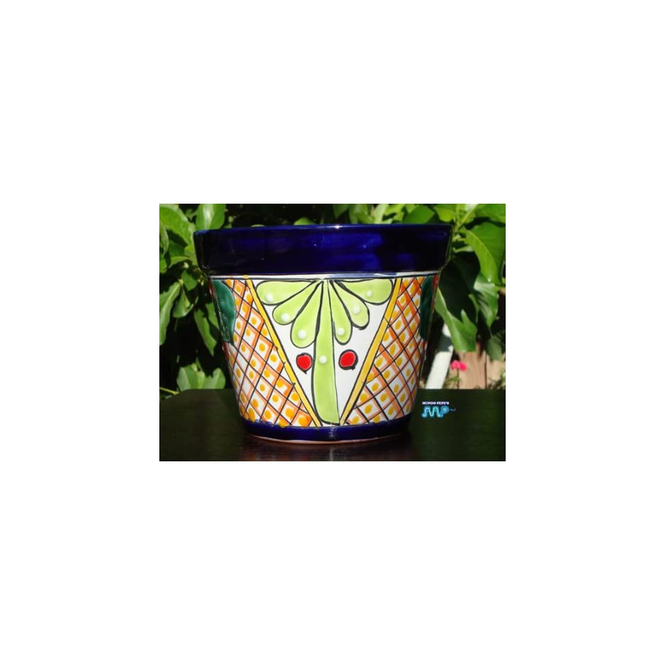 TALAVERA Ceramic Flower Planter Pot Mexican Fine Pottery 8 Wide Hand Painted Original Design(Lime Green Desighn with Yellow)