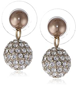 "Carolee ""Gold Pearl Basics"" Simulated Pearl and Pave Drop Earrings"
