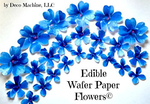 24 BLUE Decorative Edible Wafer Paper Flowers © 3 Sizes 1