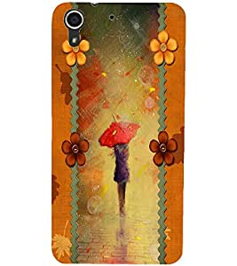 PrintDhaba Painted Girl D-2688 Back Case Cover for HTC DESIRE 728 (Multi-Coloured)