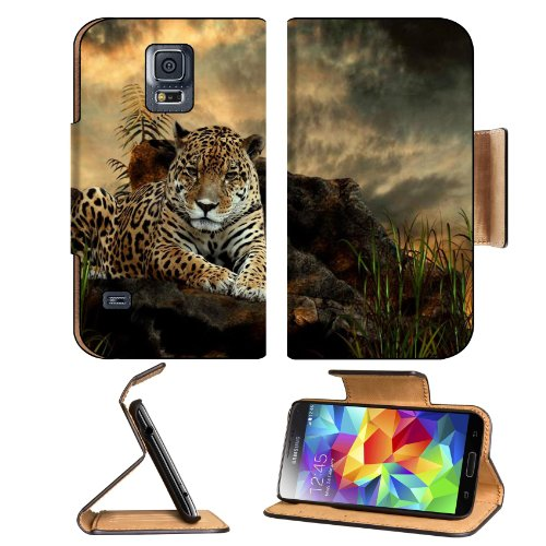 Jaguar Panthera Animal Big Cat Carnivore Pattern Jungle Samsung Galaxy S5 Sm-G900 Flip Cover Case With Card Holder Customized Made To Order Support Ready Premium Deluxe Pu Leather 5 13/16 Inch (148Mm) X 2 1/8 Inch (80Mm) X 5/8 Inch (16Mm) Liil S V S 5 Pro