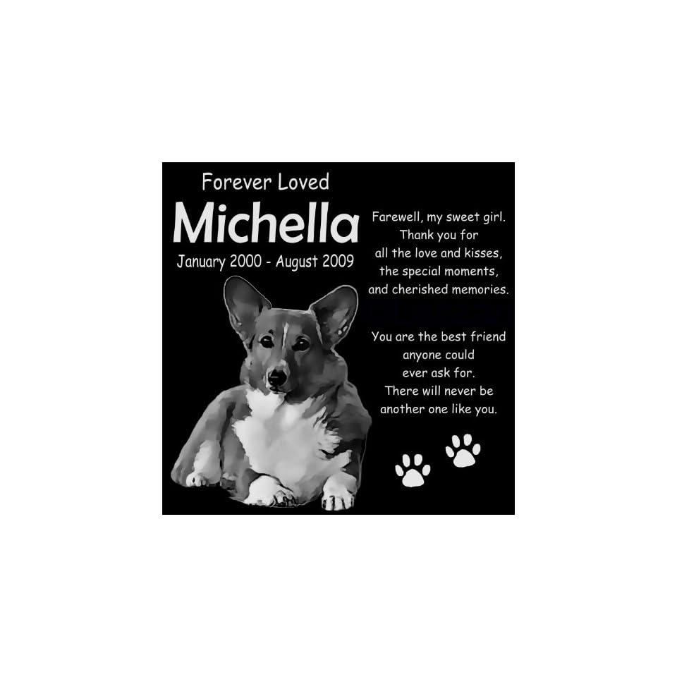 "Personalized Pembroke Welsh Corgi Dog Pet Memorial 12""x12"" Engraved Black Granite Grave Marker Head Stone Plaque MIC2  Pet Memorial Products"