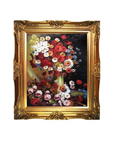 Vincent Van Gogh Vase With Poppies, Cornflowers, Peonies and Chrysanthemums Framed Hand-Painted Re...